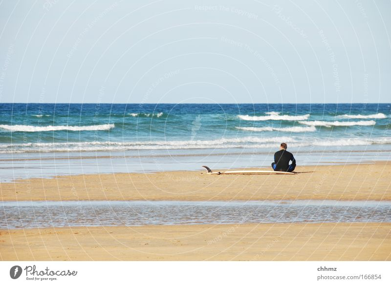 Human being Water Ocean Summer Beach Calm Relaxation Sand Coast Waves Contentment Back Leisure and hobbies Sit Wait Beautiful weather