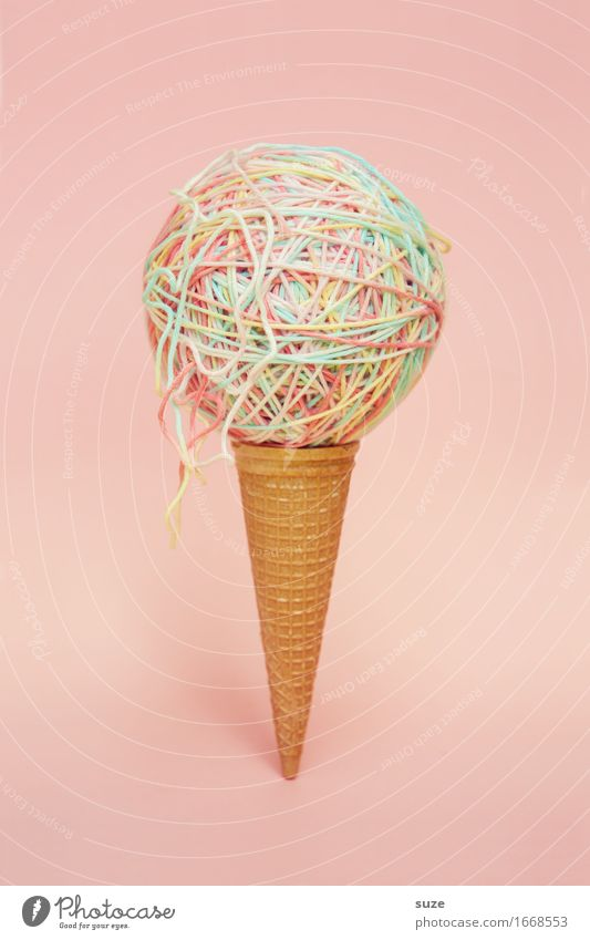 1x spaghetti ice cream Food Dessert Ice cream Candy Nutrition Design Summer Gastronomy Art Sphere String Esthetic Exceptional Delicious Funny Round Sweet Pink
