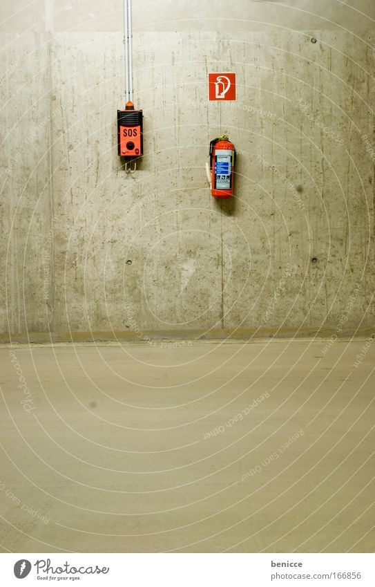 SOS Parking garage Parking lot Empty Night Concrete Lamp Arrow One-way street Floor covering Ceiling Night shot Threat Deserted Extinguisher Alarm
