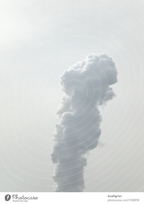 phallus icon Subdued colour Exterior shot Deserted Copy Space top Neutral Background Day Sky Clouds Large White Power Steam