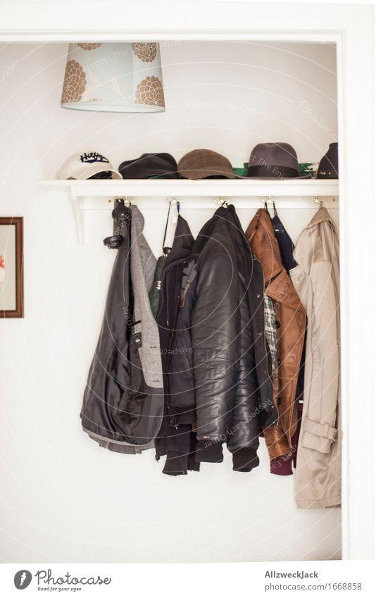 men's wardrobe Clothing Jacket Coat Leather Hat Cap Authentic Uniqueness Clothes peg Men's fashion Hallway Dressing room Leather jacket Trench coat Colour photo