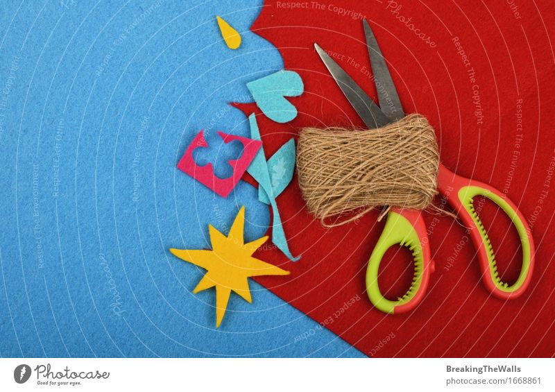 Craft and art, felt pieces, jute twine bobbin and scissors Blue Red Loneliness Yellow Art Design Leisure and hobbies Esthetic Creativity To enjoy Uniqueness