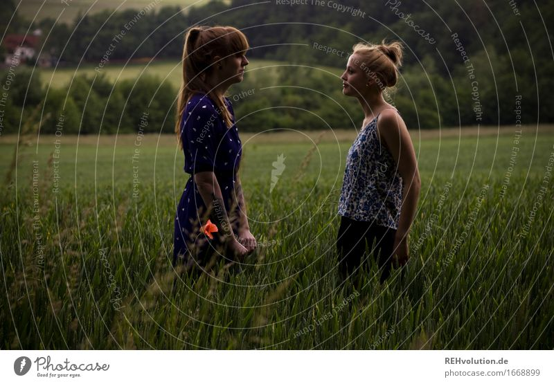 Human being Woman Nature Youth (Young adults) Beautiful Green Landscape Dark 18 - 30 years Adults Environment Feminine Together Friendship Field Communicate