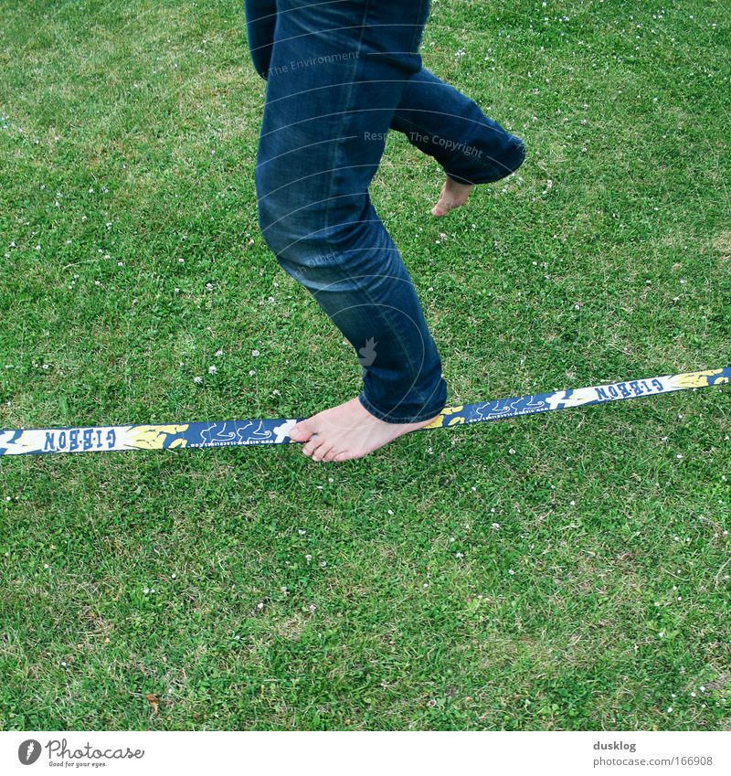 Human being Youth (Young adults) Blue Green Joy Grass Sports Garden Going Legs Feet Leisure and hobbies Modern Walking Happiness Rope