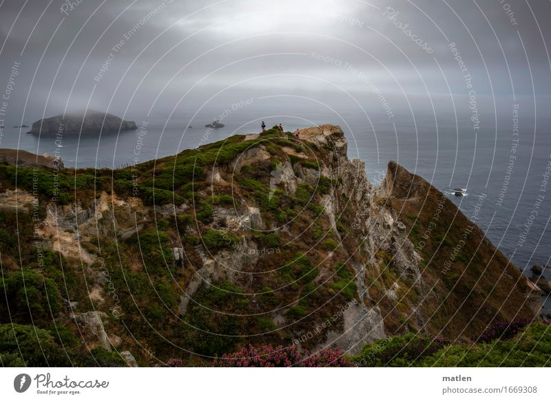 Human being Sky Nature Plant Summer Green Water Ocean Landscape Dark Environment Grass Coast Gray Brown Rock