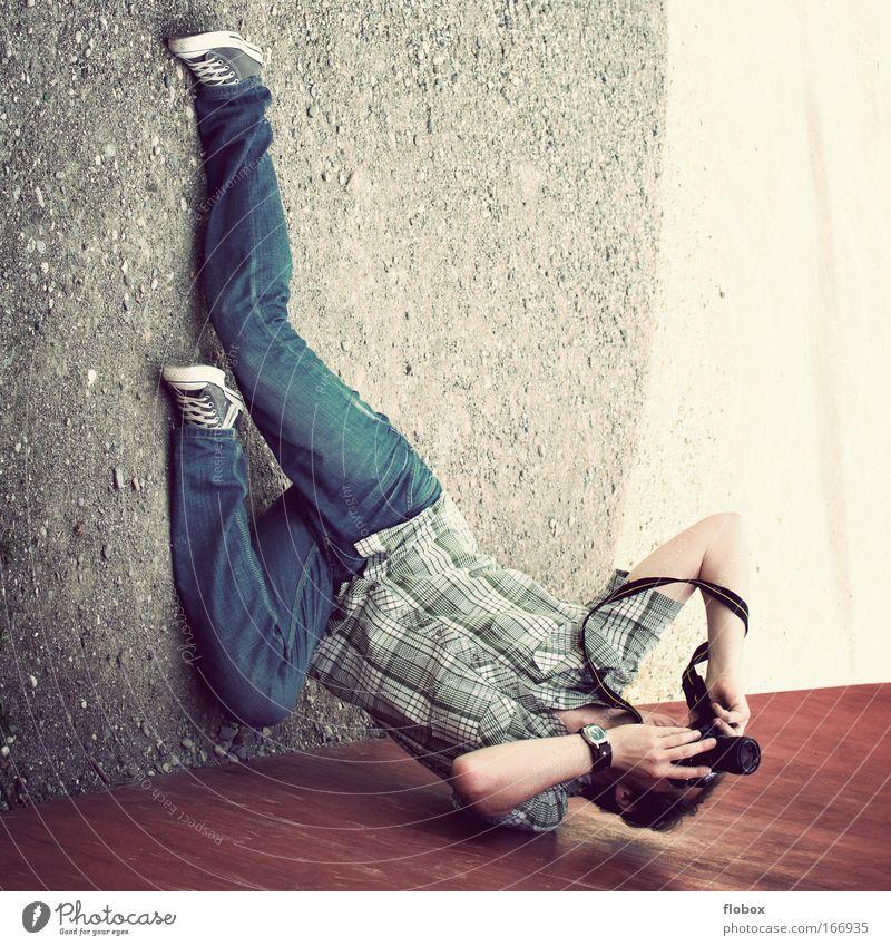 Man Joy Profession Photography Adults Perspective Ground Lie Camera Passion Athletic Photographer False Acrobat Take a photo