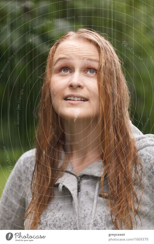 Girl enjoying rain in the park. Human being Woman Nature Youth (Young adults) Summer Beautiful Young woman Joy 18 - 30 years Face Adults Autumn Lifestyle Happy