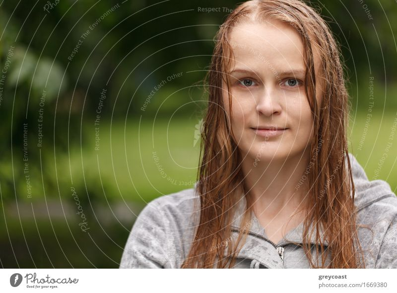 Portrait of a girl after rain Human being Woman Nature Youth (Young adults) Summer Beautiful Young woman Water White Girl 18 - 30 years Face Adults Emotions