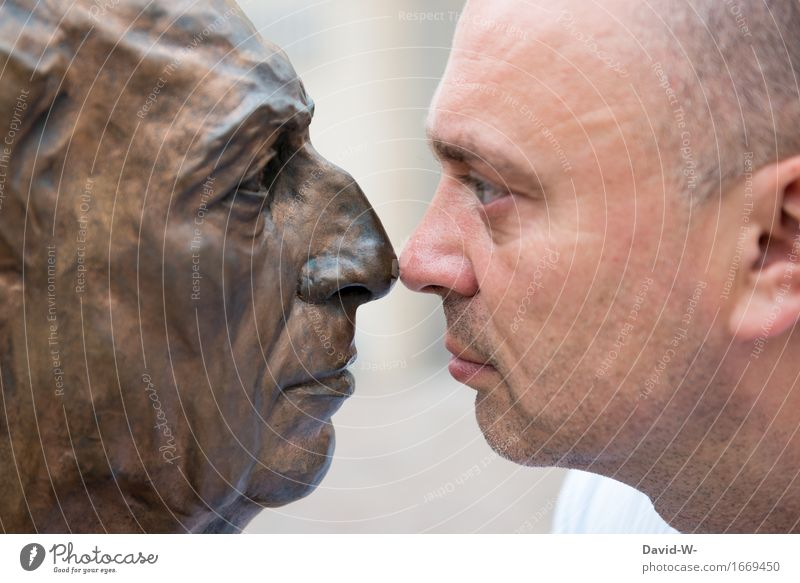greeting on the nose Human being Masculine Man Adults Life Head Eyes Nose 1 2 Art Artist Exhibition Work of art Sculpture Stage play Actor Observe Touch Looking