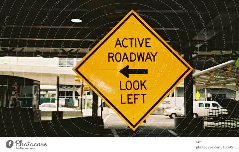 look left Street sign Americas Yellow Things active roadway Arrow