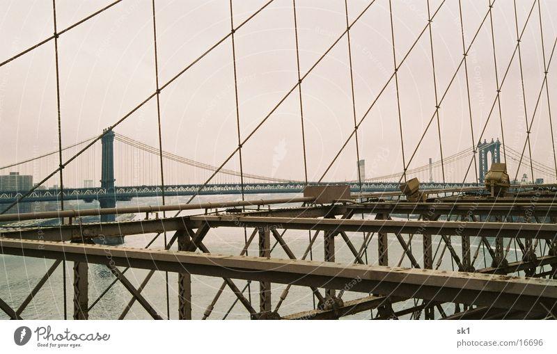 Ocean Metal Bridge New York City Wire cable Brooklyn Bridge