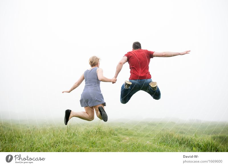 LIFE~NEBEL Healthy Life Vacation & Travel Adventure Freedom Human being Woman Adults Man Friendship Couple Partner 2 Nature Fog Feasts & Celebrations Flying