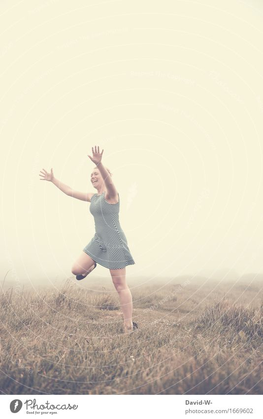 Human being Woman Nature Youth (Young adults) Beautiful Young woman Hand Joy Adults Life Emotions Meadow Funny Feminine Happy Jump