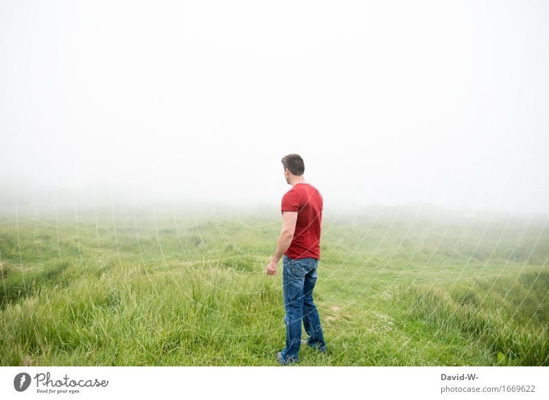 Human being Nature Vacation & Travel Youth (Young adults) Man White Landscape Young man Relaxation Red Clouds Calm Adults Environment Life Meadow