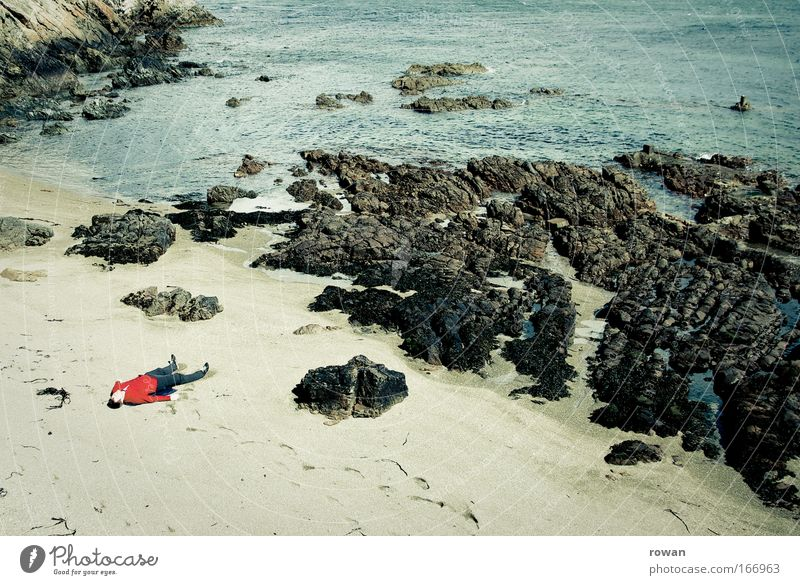 Human being Red Ocean Beach Loneliness Relaxation Death Sand Coast Sadness Dream Contentment Rock Masculine Lie Sleep