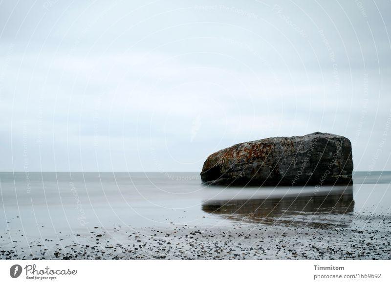 Berth. Vacation & Travel Environment Elements Sand Water Sky Clouds Beach North Sea Denmark Stone Concrete Lie Esthetic Blue Gray Dugout Heavy Colour photo