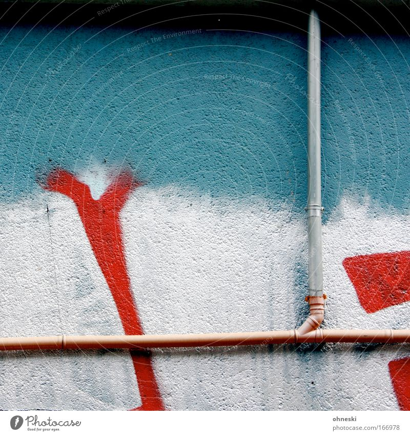 Blue Red House (Residential Structure) Wall (building) Graffiti Wall (barrier) Facade Characters Uniqueness Silver Spray Spray Copper Downpipe