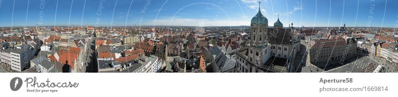 Augsburg, seen from the Perlachturm;360 degree panorama Town Downtown Old town Populated Dome Places Marketplace City hall Tower Manmade structures Building
