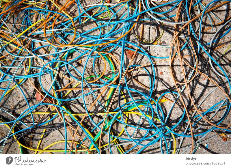 tangled cables Craft (trade) Construction site Cable Terminal connector Uniqueness Multicoloured Chaos Disaster Fiasco Arrangement full-frame image Muddled