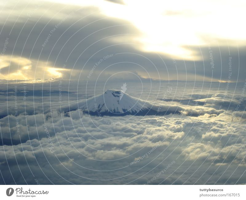 Nature Sky Cloudless sky Sunrise Sunset Mountain Volcano Vacation & Travel Colour photo Aerial photograph