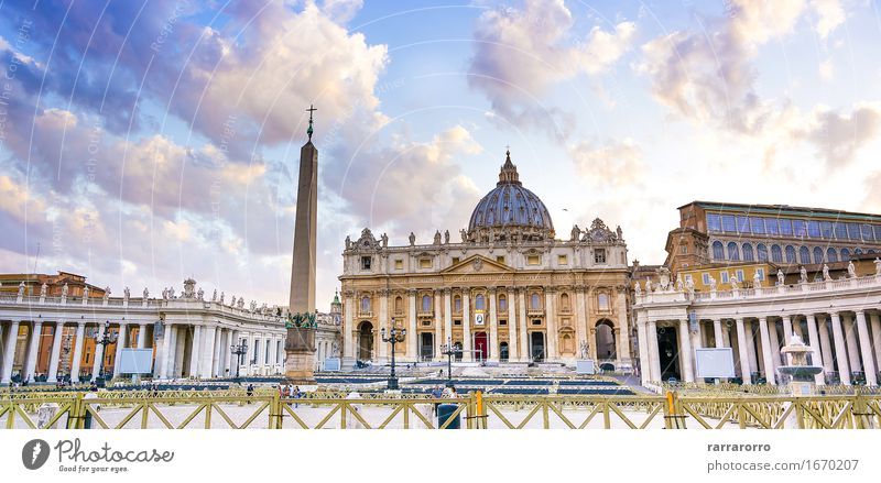 Saint Peter church in Vatican city Vacation & Travel Tourism Sky Small Town Church Building Architecture Facade Monument Old Religion and faith st Rome basilica