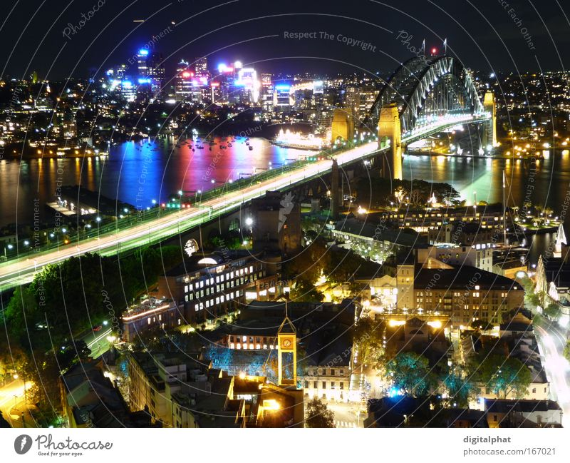Sydney Harbour Bridge City Beautiful Vacation & Travel Colour Building Glittering High-rise Illuminate Night Skyline Landmark Tourist Attraction Australia