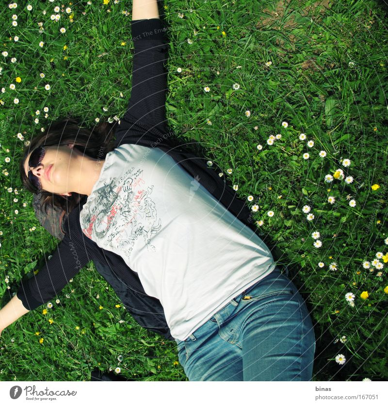 joy Colour photo Exterior shot Human being Young woman Youth (Young adults) Face Lips 1 Nature Spring Beautiful weather Grass Blossom Park Clothing T-shirt