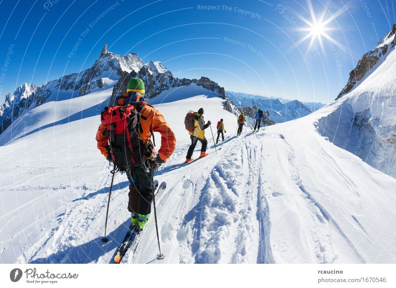 A group of skiers start the descent of Vallée Blanche, Chamonix Vacation & Travel Trip Adventure Expedition Winter Snow Mountain Sports Human being Man Adults