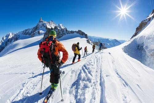 A group of skiers start the descent of Vallée Blanche, Chamonix Human being Nature Vacation & Travel Man White Landscape Winter Mountain Adults Sports Snow