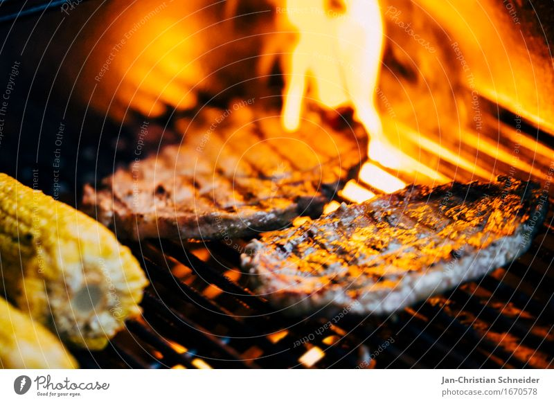 barbecue Food Meat Vegetable Herbs and spices Lunch Banquet Slow food Barbecue (apparatus) Leisure and hobbies Colour photo Detail Macro (Extreme close-up)