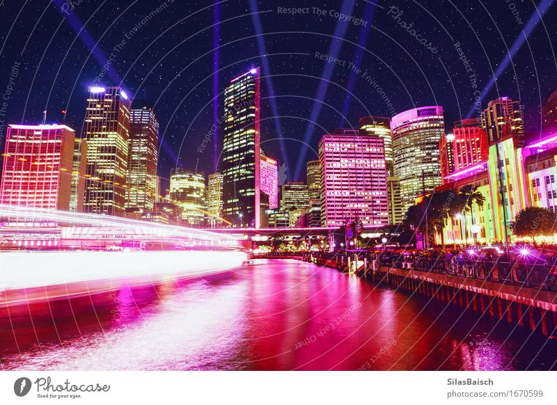 Downtown Town Port City Skyline Populated High-rise Bank building Harbour Architecture Tourist Attraction Exceptional Bright Tall Beautiful Uniqueness Light