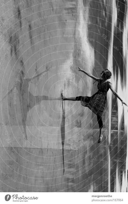 Woman Human being Water Loneliness Movement Dance Dancer Dress Black & white photo Ballet