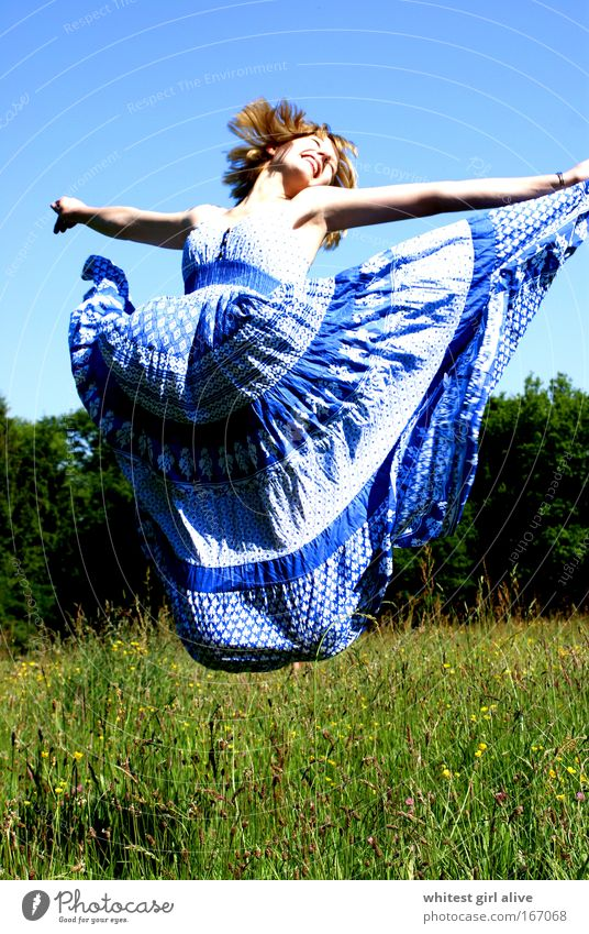 only flying is nicer! Colour photo Exterior shot Day Central perspective Full-length Closed eyes Feminine Young woman Youth (Young adults) Movement Jump