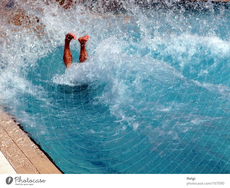 submerged.... Colour photo Exterior shot Day Sunlight Joy Swimming & Bathing Dive Swimming pool Human being Masculine Man Adults Life Legs Feet 1 Water