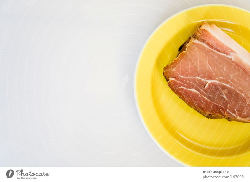 smoked meat Studio shot Copy Space left Day Shallow depth of field Long shot Food Meat Lunch Buffet Brunch Plate Gastronomy Yellow White