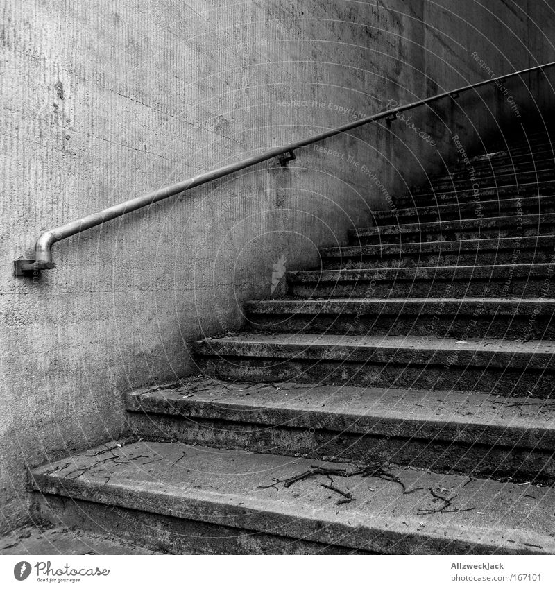 Wall (building) Wall (barrier) Sadness Fear Stairs Handrail Upward Banister Black & white photo