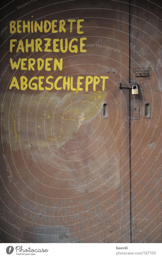 Old Yellow Dark Metal Brown Door Signs and labeling Characters Signage Gate Steel Rust Stupid Motoring Lock