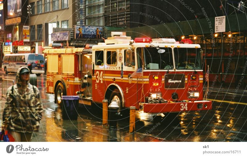 Fire truck New York Wet Fire department Rain New York City FDNY Alarm Deployment Fire engine Warning light Driving Bad weather Road traffic