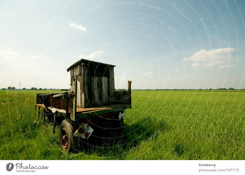 Nature Old Sky Green Blue Plant Clouds Loneliness Meadow Movement Landscape Field Large Transport Logistics Broken