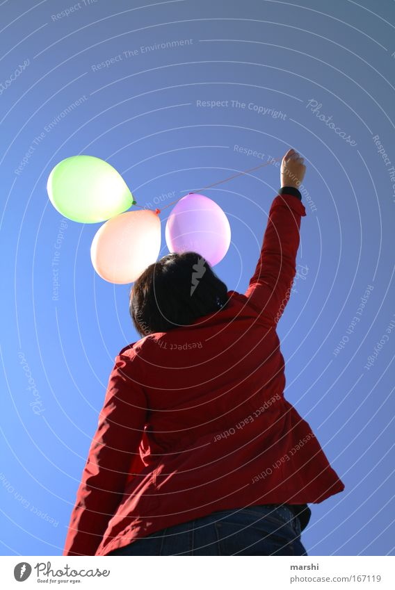 Human being Sky Blue Red Summer Joy Freedom Emotions Spring Air Moody Wind Flying Balloon Jacket Ascending