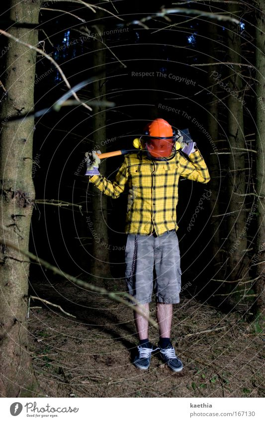 Human being Man Nature Youth (Young adults) Tree Yellow Forest Life Dark Wood Adults Hiking Masculine Crazy Threat