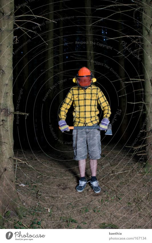 rockefeller IV Man Adults Nature Tree Forest Workwear Protective clothing Shirt Axe Helmet Aggression Exceptional Threat Creepy Yellow Self-confident Power