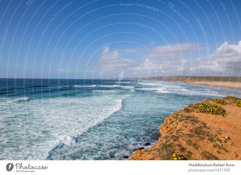 Algarve Environment Nature Landscape Sand Water Sky Clouds Waves Coast Blue Brown Yellow Gold Orange Black Silver Turquoise Vacation & Travel Travel photography