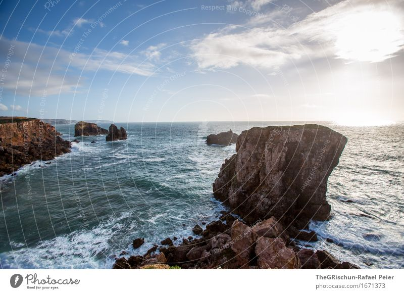 rock Environment Nature Landscape Horizon Sunrise Sunset Blue Brown Black Turquoise White Portugal Algarve Cliff Coast Rock Waves Water Ocean Clouds Warmth