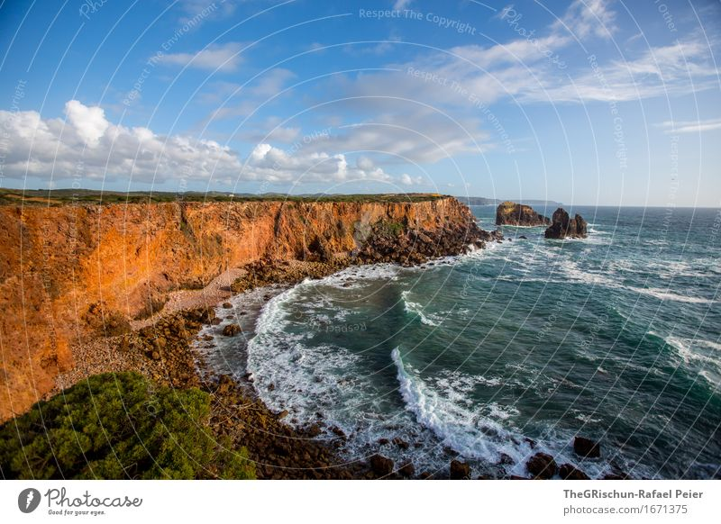 cliff Environment Nature Landscape Sky Clouds Blue Brown Gold Turquoise Algarve Portugal Coast Cliff Rock Water Ocean Stone Sunset Moody Vacation & Travel