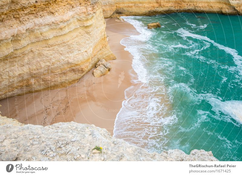 TheBeach Environment Nature Landscape Water Blue Brown Yellow Turquoise Sand Waves White crest Ocean Vacation & Travel Rock Cliff Algarve Stone Colour photo