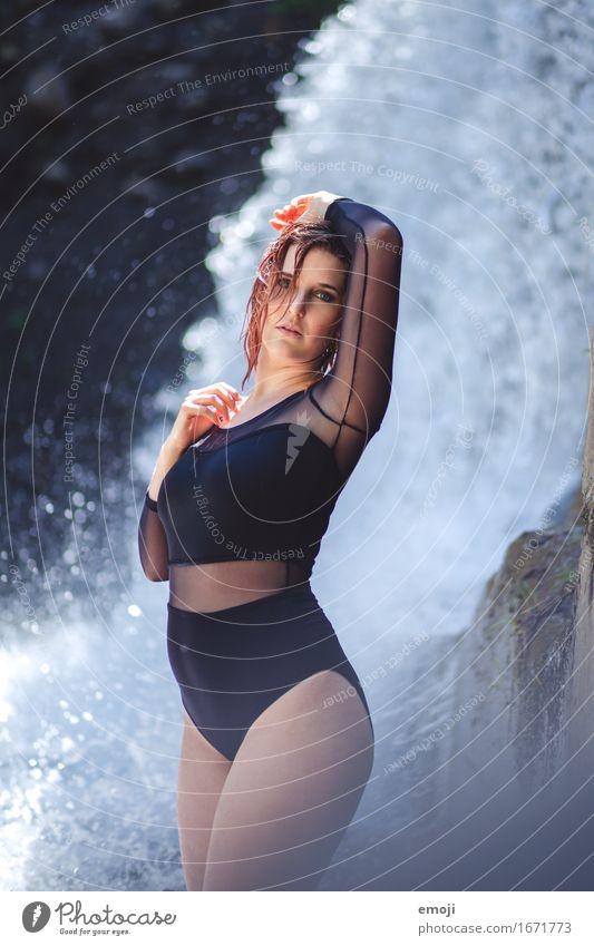 fresh Feminine Woman Adults Youth (Young adults) 1 Human being 18 - 30 years Summer Waterfall Fashion Clothing Bikini Swimsuit body Beautiful Eroticism