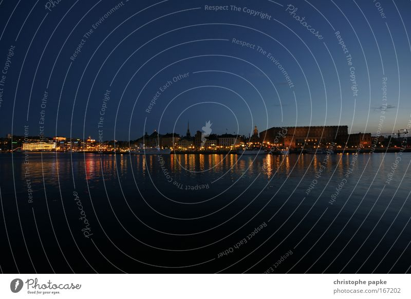 Skeppsholmen Colour photo Subdued colour Exterior shot Deserted Copy Space top Copy Space bottom Evening Twilight Night Reflection Vacation & Travel Sightseeing