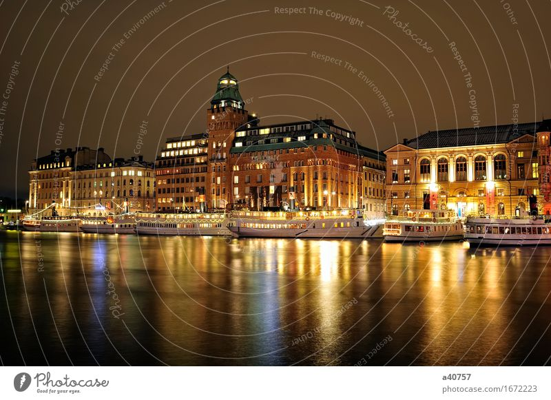 Night view of Stockholms Sweden Built Town Skyline Vacation & Travel Nautical Horizontal Exterior shot House (Residential Structure) Europe Scandinavia Old