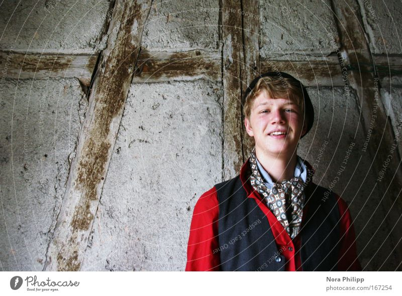 young lad Colour photo Interior shot Copy Space left Day Central perspective Looking into the camera Human being Masculine Young man Youth (Young adults) Head